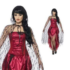 Ladies Black Lace Halloween Cape