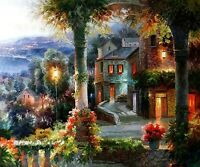 "Original Oil Painting On Canvas, Mediterranean Evening View, 48 x 60"", Landscape"