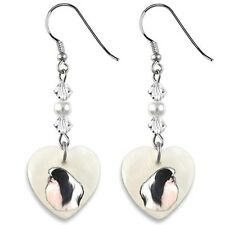 Japanese Chin Dog 925 Sterling Silver Mother Of Pearl Heart Earrings Ep286