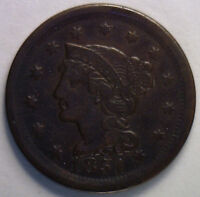 1851 Braided Hair Liberty Head Large Cent US Copper Type Coin VF3