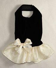 XS Black Velvet Ivory Satin Dog Dress clothes Gown PC Dog®