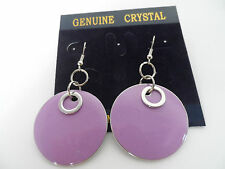 FUNKY RETRO LILAC SILVER 60s 70s DOUBLE ROUND ENAMEL DISC DROP EARRINGS new