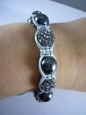 Bracelet style shamballa Gris clair - 13 perles strass + hématite