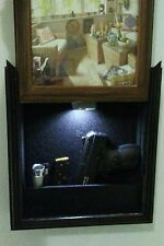 gun hidden compartment with light,  photo frame, concealment furniture, rustic.