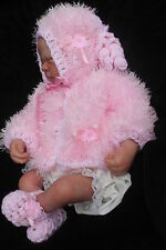 hand knitted baby girl pink fur jacket  bonnet  booties    set newborn  0/3m