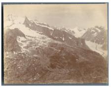 Suisse, Glacier de Fiesch  Vintage citrate print. Tirage citrate  8x11  Ci