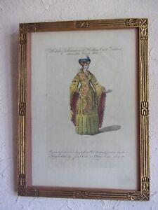 Gravure 18ème (1760), comtesse de Hollande et Zélande - CADRE - 39x28,5 cms