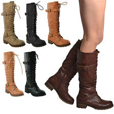 New Women's Knee High Miliary Boots Faux Leather Lace Up Combat Buckle Straps