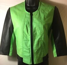 Women's Jacket By Empower Design Green Black Leather Sleeves XS