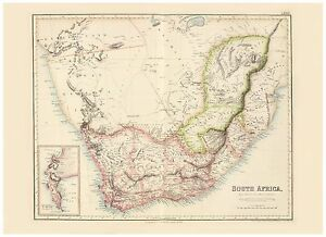 Old Vintage Decorative Map of South Africa Fullarton 1872