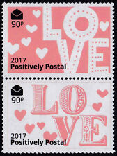 Positively Postal unmounted mint arti stamps x 2 Valentine LOVE Pink White