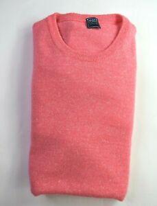 NWT $585 * Fedeli * Pink & White Woven Cashmere & Linen Crew Neck Sweater M