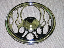 "14"" Chrome Billet Flames Fire Steering Wheel w/ Flamed & Smooth Horn Buttons"