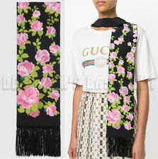 GUCCI black pink Climbing Roses SKINNY long 2-layer fringed scarf NWT Auth $485!