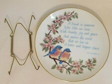 Vtg Japan Decorative Porcelain Wall Hanging Plate Bluebirds Friendship Wwa 1981
