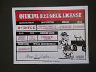 """Official Redneck License Humorous Funny Home Man Cave 9""""x12"""" FAST FREE SHIP N48"""