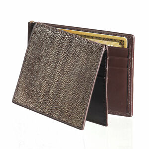 Men's Stingray Skin Wallet & Money Clip Ultra Slim Weathered Chocolate Tri-Fold