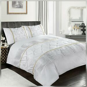 50% POLLY/50%COTTON ELEANOR PIN-TUCK LACED WHITE KING DUVET QUILT COVER SET
