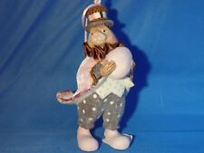 Katherine'S Collection Rabbit with Egg Ornament Pink Coat Gray Pants Euc