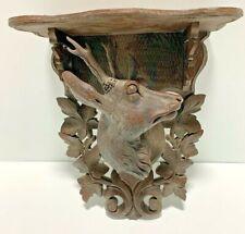 "Vintage Wood Resin Roe Deer Black Forest Style ""Carved"" Wall Display Shelf Cabin"