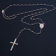 Sterling Silver 3mm Beads Rosary Necklace w/ Religious Charm & Drop Cross