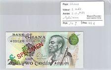 BILLET GHANA - 2 CEDIS - 2.1.1976 - SPÉCIMEN