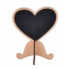 10 X Wooden heart Chalk Board Stands Signs - Wedding Table Numbers / Names