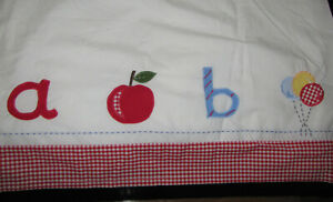 NWT Pottery Barn Kids Unisex Red & White Gingham Check A TO Z Crib Bed Skirt
