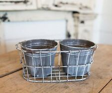 Galvanized Pots in Wire holder~Planters~Farmhouse Style