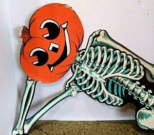 Vintage Cardboard Die Cut Jointed Halloween Beistle Skeleton JOL head As Is