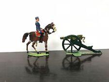figurines d'étain - groupe de 2 soldats - 1 cavalier et un canon