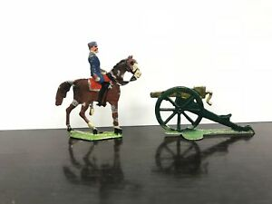 Figurines Pewter - Band Of 2 Soldiers - 1 Rider And Un Canon