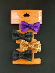 New Claire's Halloween Women's Girl's 4 piece Hair Clip Glitter Bow Multicolor