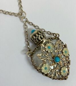 Vintage Czech Glass Scent Bottle Pendant Decorated With Enamel Silver Tone Metal