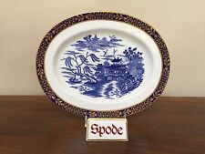 Antique Spode BLUE WILLOW ORIENTAL Oval Platter with Gold Applied Trim ca 1875