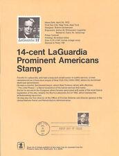 #7203 14c LaGuardia Stamp #1397 Souvenir Page w/Eagle Watermark