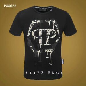PHILIPP PLEIN Black/White Letters Beading Men Casual T-shirt #P8862 M-3XL