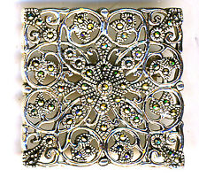 "925 Sterling Silver Marcasite Square Large Brooch Filigree Style 1.1/4"" x 1.1/4"""