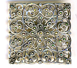 """925 Sterling Silver Marcasite Square Large Brooch Filigree Style 1.1/4"""" x 1.1/4"""""""