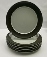 denby chevron x 6 20cm side plate, bread and butter plate - dark green