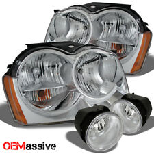 Fits 05-07 Grand Cherokee Chrome Clear Headlights Replacemnet + Clear Fog Lights