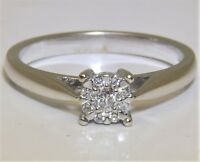 9 CARAT  9CT WHITE GOLD 0.14 CT DIAMOND CLUSTER  ENGAGEMENT RING 2.9g SIZE O
