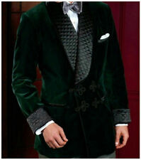 Men Green Smoking Jackets Quilted Lapel Designer Dinner Party Wear Blazers Coats
