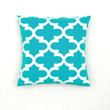 Quatrefoil Accent Cotton Canvas Decor Throw Cushin Cover Pillowcase Aqua Blue