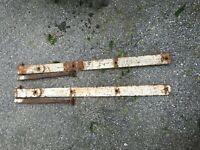 "Antique Hand Forged Iron Barn Door Strap Hinges 37"" Long x 2.5 in Pair with Bolt"