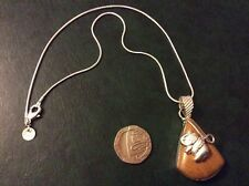 Brown jasper 925 silver pendant with a 925 silver snake chain app16inch long