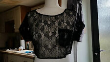 New Ladies Lady's Women's Black Lace Cropped Top Size 10 S by Topshop