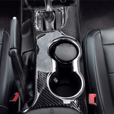 Car Gear Shift Knob Cup Panel Carbon Fiber Trim For Ford Mustang 2015-2017