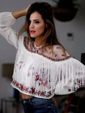 ZARA New WHITE EMBROIDERED blouse with TASSELS FRINGES SIZE M UK 10 DOTTED