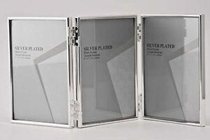 "Triple Silver Photo Picture Frame 2.5x3.5"", 3.5x5"", 4x6"",6x8 ""& 5x7""  Shiny Thin"